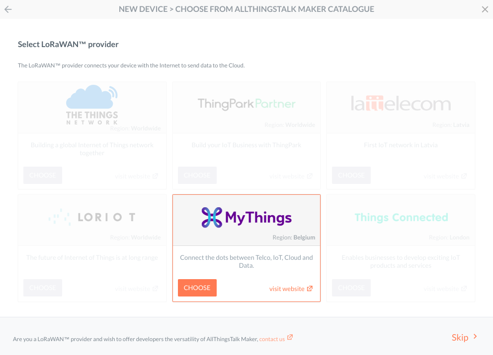 Choose Proximus MyThings when adding new device
